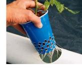 Cheap netted pots can be made from 16 ounce plastice