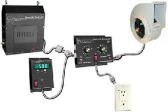 An atmospheric controller will monitor temperature and CO2 levels, and will control exhaust fans and CO2 emitters automatically
