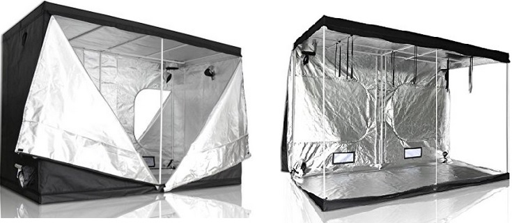 At 118x60x78(inches), this grow tent provides enough space inside for a 4'x8' garden plus an isle for a person to actually get in there and tend the garden
