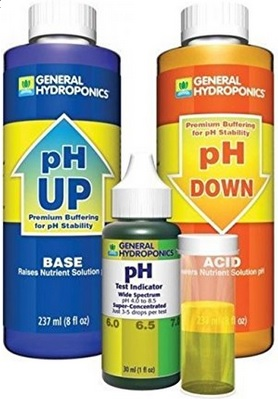 pH up and pH down allow you to control the pH level of your hydroponic nutrient solution. This kit also includes the pH indicator drops