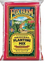 FoxFarm planting mix, in the red bag, is more friendly to new seedlings and fresh clones than the Ocean Forest mix (which is a little stronger)