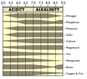 Maximum nutrient availability occurs at a pH of 6.0 to 6.5 (approximately)