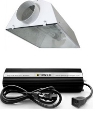 I recommend this type of horizontal reflector. You can put glass in the bottom and remove heat from the light efficiently with the 6 inch vent holes