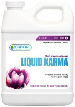 Liquid Karma is one of my favorite additives. Using products like Liquid Karma during the flush helps your plants develop their resin profile. End result: tastes like it's grown organically in soil!