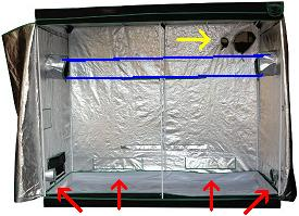 In professional grow tents there are usually velcro flaps over the air intake holes (like the rectangular flaps in the picture). & Exhaust Setup for an 8 x 8 Grow Room Tent